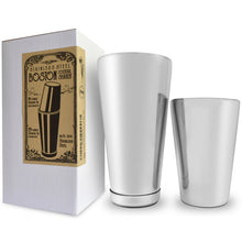 Premium Stainless Steel Boston Cocktail Shaker Set, includes 2 Piece 28 Ounce weighted and 18 Ounce unweighted, Professional, 304 Food Grade, Stainless Steel Bartender Shaker Tins