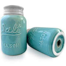 Vintage Style, Ceramic Salt and Pepper Shakers (Large 8 oz), Mason Jar Inspired - Set of 2, Premium, Super Cute, Retro, Decorative, Durable and Functional by My Fancy Farmhouse (Blue)