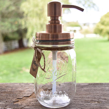 Premium Rust Resistant 304 18/8 Stainless Steel Mason Jar Soap Pump / Lotion Dispenser Kit by Premium Home Quality - Includes 16 oz (Regular Mouth) Glass Mason Jar (Brushed Copper)