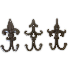 Set of 3 Fleur De Lis, Rustic, Cast Iron Double Wall Hooks, Vintage Inspired, Perfect for Coats, Bags, Hats, Towels, Scarfs etc | Screws Included | by My Fancy Farmhouse (Ornate, Dark Brown)