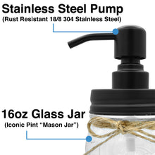 Premium Home Quality Premium Rust Proof 304 18/8 Stainless Steel Mason Jar Soap Pump/Lotion Dispenser Kit by Includes 16 oz (Regular Mouth) Glass Mason Jar (Black)