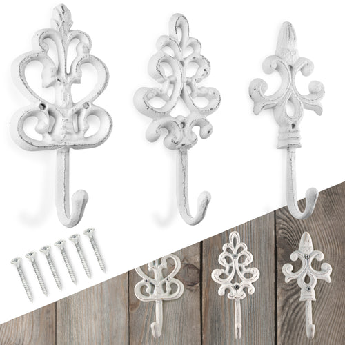 Set of 3 Fleur De Lis, Vintage, Cast Iron Hooks, Vintage Inspired, Perfect for Coats, Bags, Hats, Towels, Scarfs etc by My Fancy Farmhouse (Large Ornate Fleur De Lis, Vintage White)