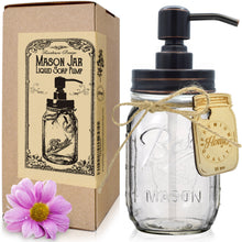 "Premium Home Quality Premium Stainless Steel Mason Jar Soap Pump or Lotion Dispenser Includes Iconic, Vintage ""Ball"" (Regular Mouth) Glass Jar (16 oz - Standard Pump, Oil Rubbed Bronze)"