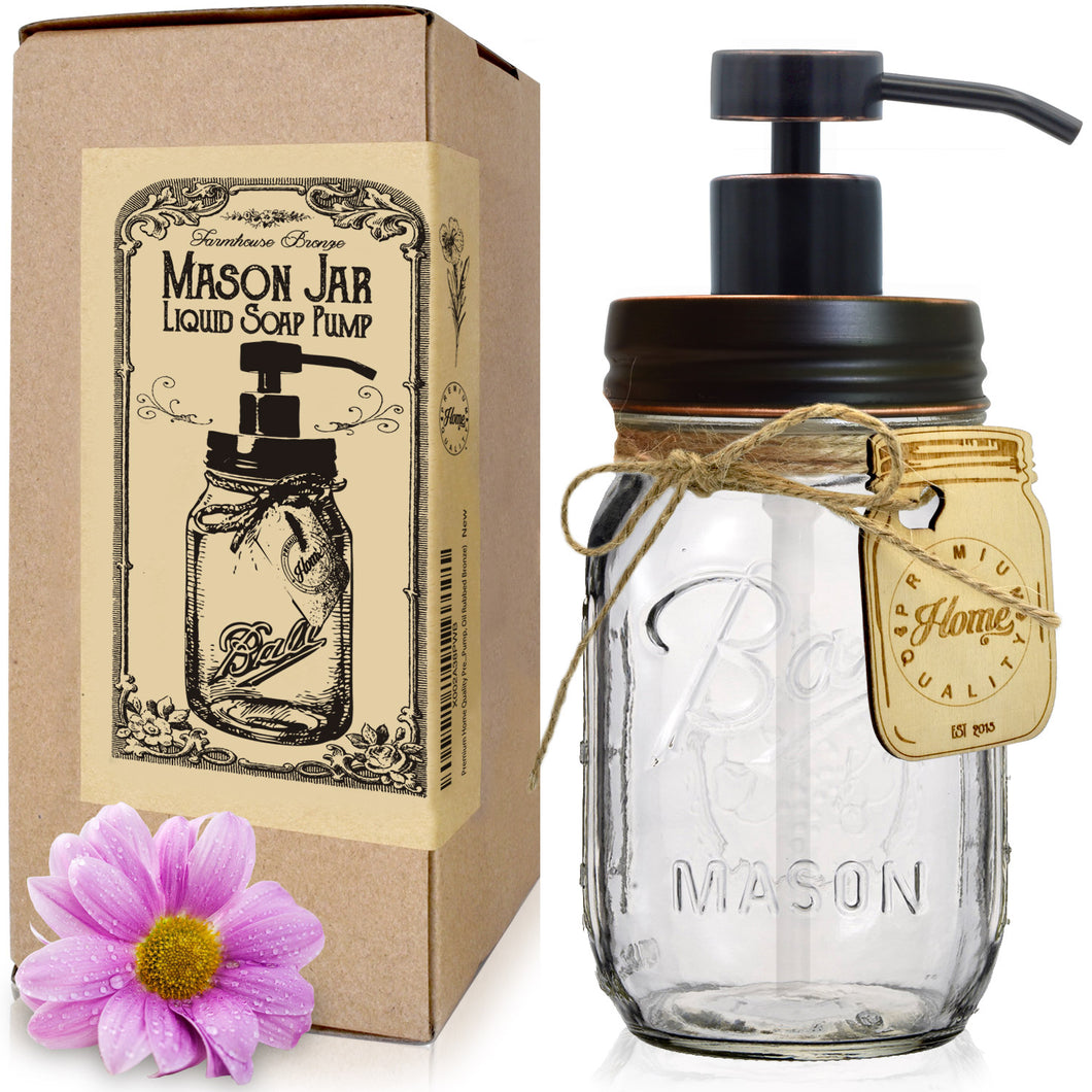 "Premium Oil Rubbed Bronze, Rustproof, Stainless Steel, Mason Jar Soap Dispenser - Modern Farmhouse - Iconic, Vintage ""Ball"" (Regular Mouth) Glass Jar (16 Ounces - Wide Pump)"