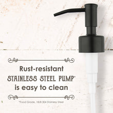 16 Ounce - Premium Stainless Steel, Liquid Hand Soap Pump or Lotion Dispenser - Vintage Inspired, Boston Round Glass Bottle - Waterproof Chalk Labels Included (16 Oz, Rust Proof Farmhouse Black)