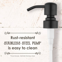 Premium Rust Resistant, 18/8 Stainless Steel, Liquid Hand Soap Pump or Lotion Dispenser - Vintage Inspired, Boston Round Clear Glass Bottle with Bonus Waterproof Chalk Labels (16oz, Clear Glass, Black Pump)