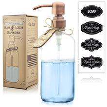 Premium Rust Resistant, 18/8 Stainless Steel, Liquid Hand Soap Pump / Lotion Dispenser - Vintage Inspired, Boston Round Clear Glass Bottle with Bonus Chalk Labels (16 Ounce, Clear Glass, Copper Pump)