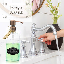 Premium Rust Resistant, 18/8 Stainless Steel, Liquid Hand Soap Pump or Lotion Dispenser - Vintage Inspired, Boston Round Clear Glass Bottle - Bonus Waterproof Chalk Labels Included (16oz, Clear Glass, Dark Bronze Pump)