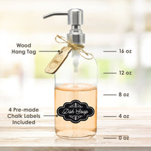 Premium 18/8 Stainless Steel, Liquid Hand Soap Pump or Lotion Dispenser - Vintage Inspired, Boston Round Clear Thick Glass Bottle with Bonus Waterproof Chalk Labels (16oz, Silver Pump)