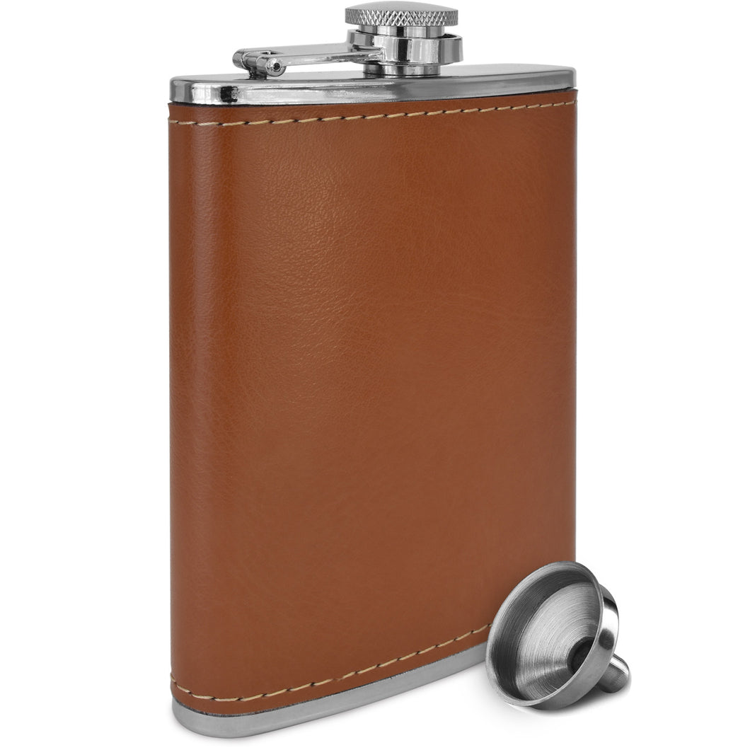 Brown Soft Touch Leather Wrap Outdoor Adventure Flask 304 Stainless Steel - Leak Proof - Liquor Hip Flask - Includes Bonus Funnel (8 ounce capacity)