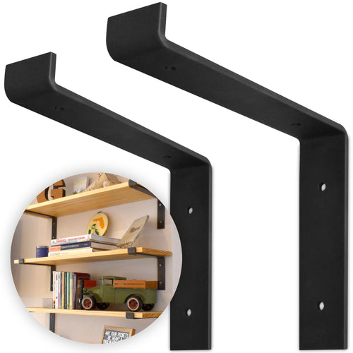 "12 Inch Floating Shelf Brackets, Heavy Duty 2-Pack, (Black) Industrial Strength, DIY Rustic Modern Steel Wall Shelf Brackets with Lip | Mounting Screws Included (Actual Size 11 1/4"", Set of 2)"