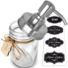 Premium Rust Resistant 304 18/8 Stainless Steel Mason Jar Soap Pump / Lotion Dispenser Kit by Premium Home Quality - Includes 16 oz (Regular Mouth) Glass Mason Jar (Brushed Stainless Steel)