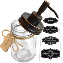 Premium Rust Resistant 304 18/8 Stainless Steel Mason Jar Soap Pump / Lotion Dispenser Kit by Premium Home Quality - Includes 16 oz (Regular Mouth) Glass Mason Jar (Farmhouse Bronze)