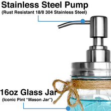 Rust Resistant, 304 18/8 Stainless Steel, Mason Jar Soap or Lotion Dispenser with Iconic Vintage Ball, 16 Ounce (Clear Glass)