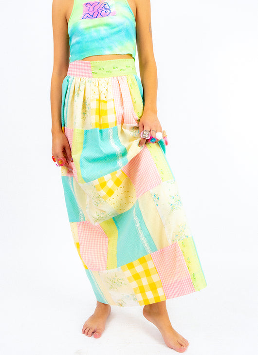 QUILTED & CONFUSED PASTEL SKIRT