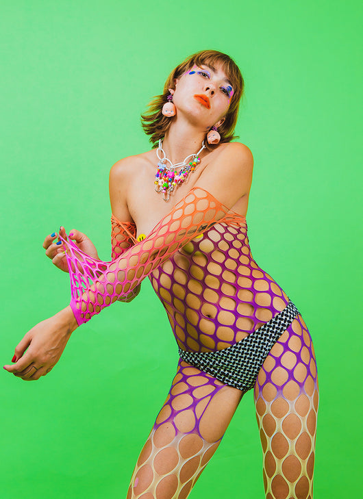 RAINBOW BABY DYED FISHNET SUIT