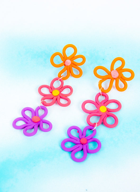 CORAL DAISY CHAIN EARRINGS