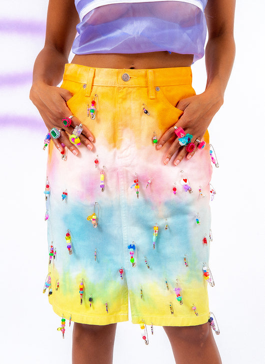 CANDY DRIP DENIM SKIRT (28