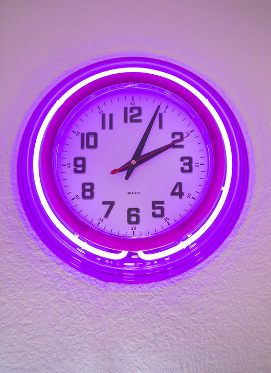 CAN'T B LATE NEON CLOCK