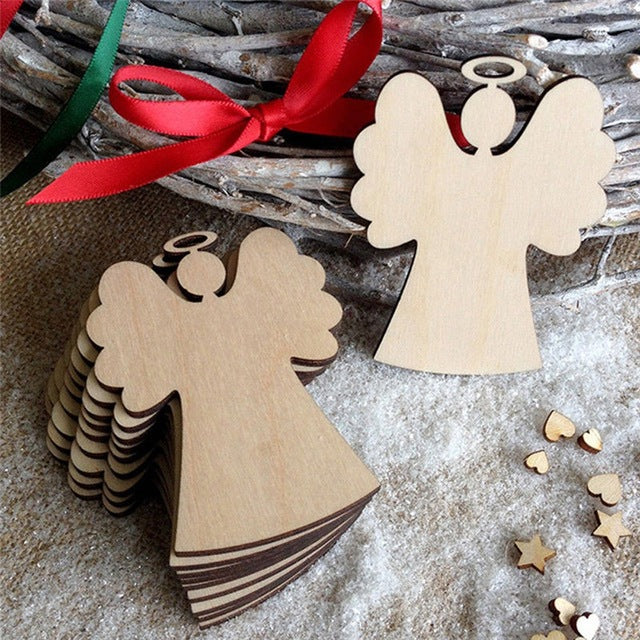 10Pcs Christmas Wood Chip Tree Angel Cute