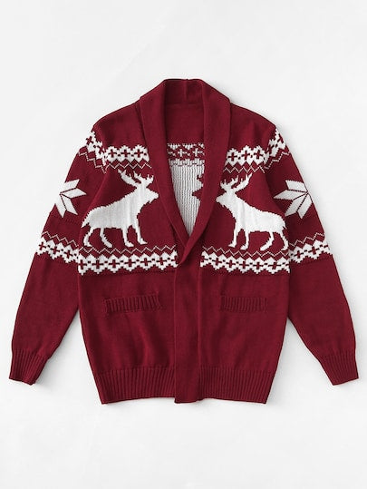 Men Christmas Print Cardigan