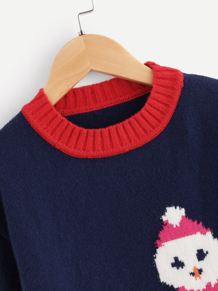 Toddler Boys Drop Shoulder Christmas Print Jumper
