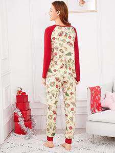 Christmas Cartoon Print Colorblock Pajama Set