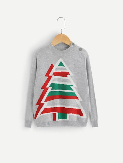 Toddlers Girls Christmas Tree Print Jumper