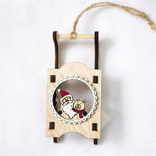 1PCS Merry Christmas Wooden Xmas Tree Pendants