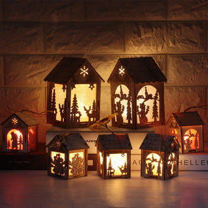 Battery Christmas Ornaments Glowing Cabin Hotel