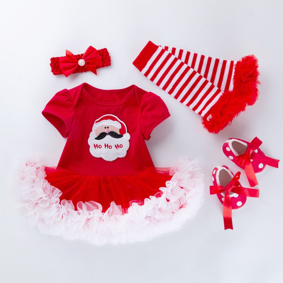 Christmas Toddler Baby Girls Santa Printing Romper