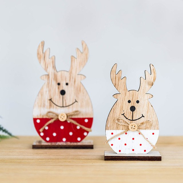 Christmas Wooden Baubles Gift Cute Elk Desktop
