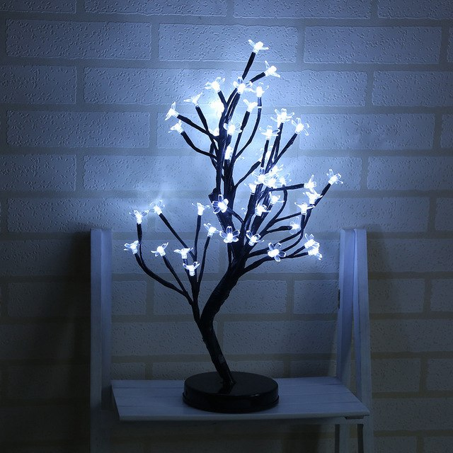 New Bonsai Style Design 48 LED Light Plum Potted