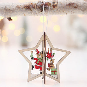 Wooden Decorative For Christmas Tree Pendant