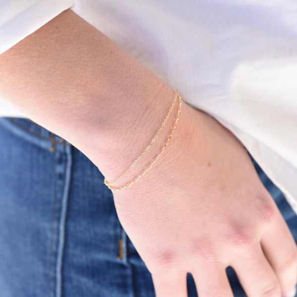 14K Gold Delicate Double Chain Bracelet