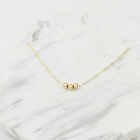 14k Gold Delicate Beads Necklace