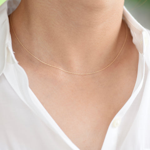 14K Gold Dainty Necklace - Adjustable Necklace