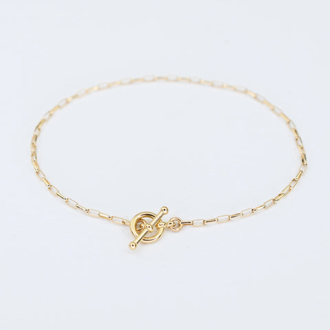 14K Gold Delicate Toggle Bracelet