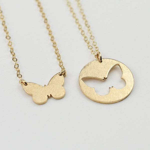Mother Daughter Necklace Set - Butterfly