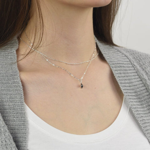 Spike Charm + Satellite chain Layered Necklace sets - Sash Jewelry