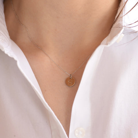 Custom Initial Necklace - Small disc necklace