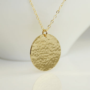 Gold large disc necklace - Sash Jewelry