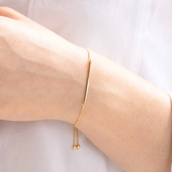 Gold Bar Bracelet - Adjustable Bar Bracelet