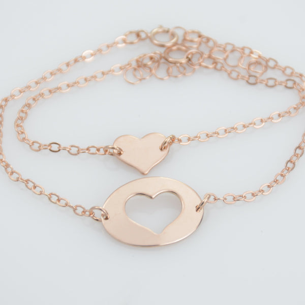 Mother daughter heart bracelet - Sash Jewelry
