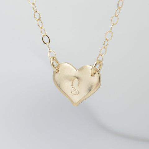 14K Gold Personalized Heart Necklace - Sash Jewelry