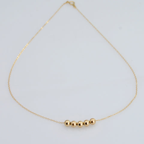 14K Gold Bead Necklace - Sash Jewelry
