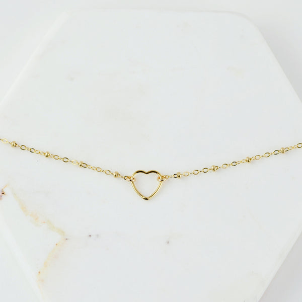 Gold Heart Anklet - Sash Jewelry