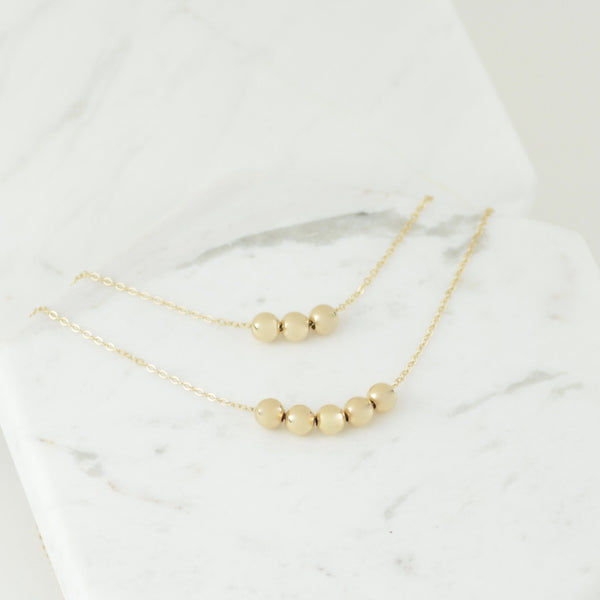 14K Gold Mother Daughter Bead Necklace Set