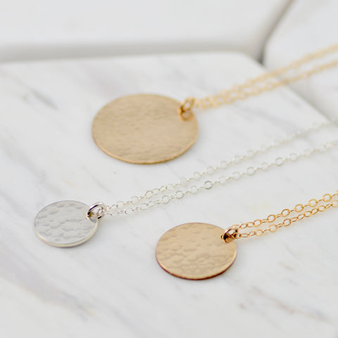 Hammered Disc Necklace - Sash Jewelry