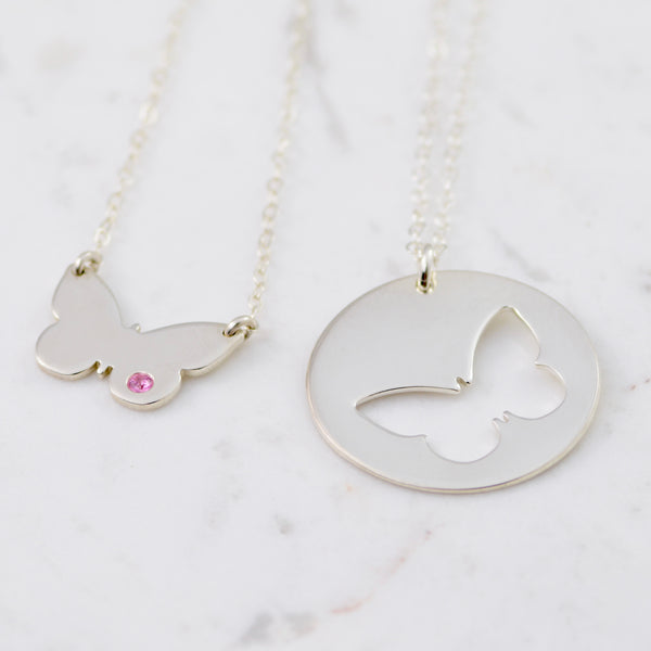 Mother and Daughter Butterfly Necklaces - Sash Jewelry
